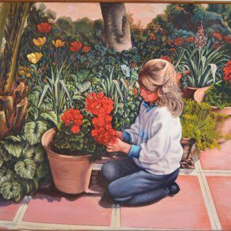 Niña jardín