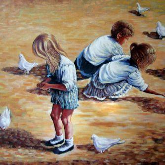Niños palomas